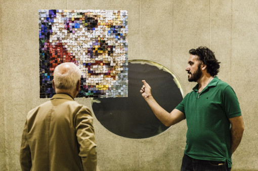 """Paola Bazz opera in mostra all'interno di """"Identità liquide"""" (presso Real Collegio, piazza Real Collegio 13). Cartasia   2014 © Guido Mencari www.gmencari.com."""