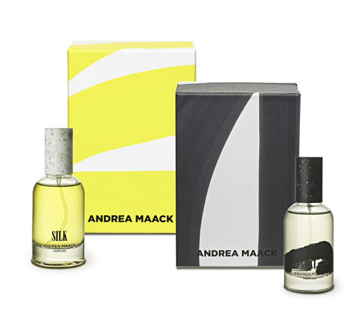Il packaging della nuova linea di eau de parfum dell'islandese Andrea Maack è stata realizzata su carta Favini.